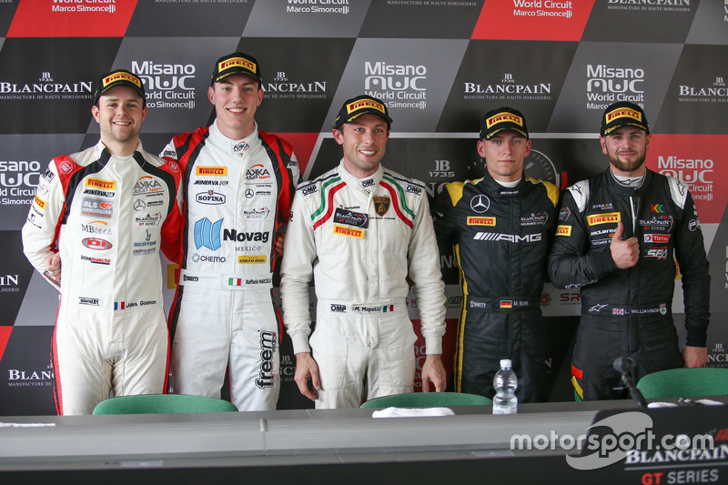 Jules Gounon, Raffaele Marciello, Akka ASP; Marco Mapelli, Attempto Racing; Maximilian Buhk, Mercedes-AMG Team HTP Motorsport; Lewis Williamson, Strakka Racing