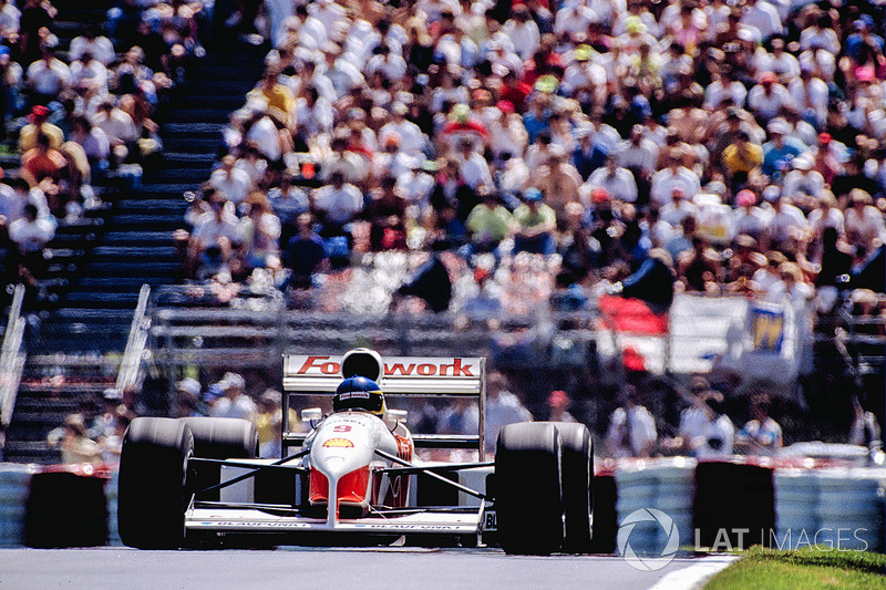 The final outing for the wretched Porsche V12, at Canada in '91. By the time the car raced again, in the French GP, the Footwork Arrows FA12s had been equipped with trusty Cosworth DFRs.