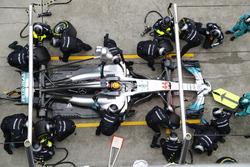 Lewis Hamilton, Mercedes AMG F1 W08, makes a stop