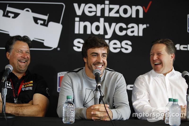 Michael Andretti, Andretti Autosport team owner, Fernando Alonso, Zak Brown press conference