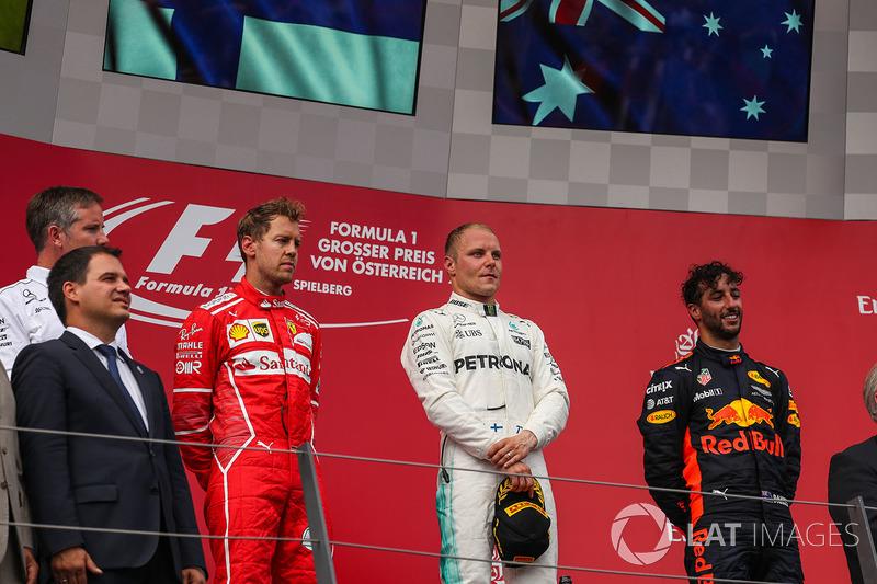 Podium: race winner Valtteri Bottas, Mercedes AMG F1, second place Sebastian Vettel, Ferrari
