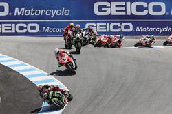 Tom Sykes, Kawasaki Racing, Marco Melandri, Ducati Team, Jonathan Rea, Kawasaki Racing, WSBK Race 2