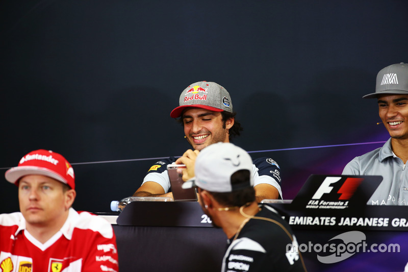 Carlos Sainz Jr., Scuderia Toro Rosso and Lewis Hamilton, Mercedes AMG F1 in the FIA Press Conference