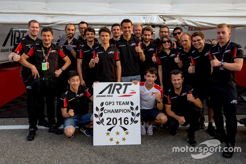 The ART Grand Prix team celebrate winning the 2016 GP3 Series team championship with drivers Charles Leclerc, ART Grand Prix; Nirei Fukuzumi, ART Grand Prix; Alexander Albon, ART Grand Prix and Nyck De Vries, ART Grand Prix