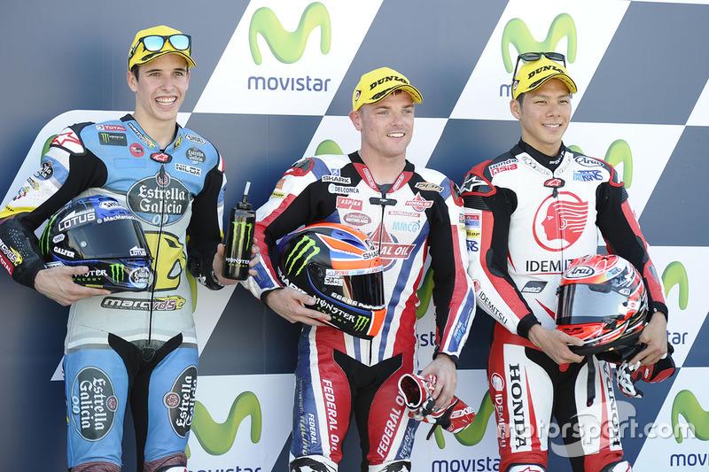 Polesitter Sam Lowes, Federal Oil Gresini Moto2; 2. Alex Marquez, Marc VDS; 3. Takaaki Nakagami, Honda Team Asia