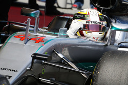 Lewis Hamilton, Mercedes AMG F1 W07 Hybrid celebrates his pole position in parc ferme