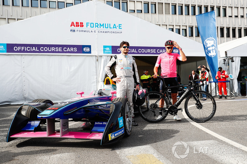 Cyclist Gianni Moscon, Racing driver, Giancarlo Fisichella, with the Formula E track car