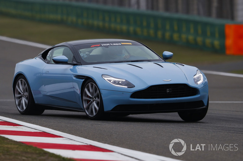 An Aston Marin DB11 is driven in Pirelli Hot Laps