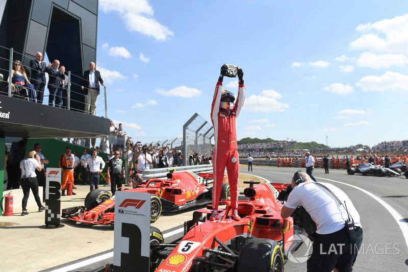 Sebastian Vettel, Ferrari SF71H, celebrates in Parc Ferme