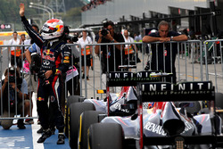 Sebastian Vettel, Red Bull Racing, celebrates pole