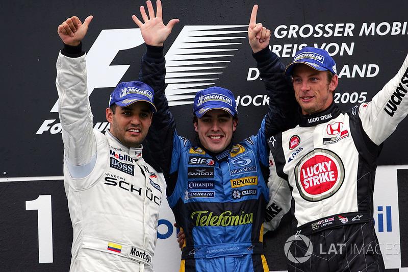 2005: 1. Fernando Alonso, 2. Juan Pablo Montoya, 3. Jenson Button