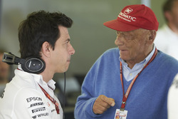 Toto Wolff, Executive Director (Business), Mercedes AMG, and Niki Lauda, Non-Executive Chairman, Mercedes AMG
