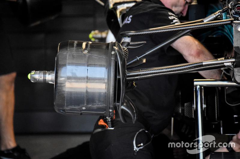 Mercedes AMG F1 W08, detail van het remsysteem
