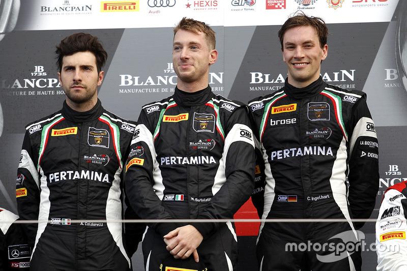 Podio: i vincitori della gara #63 GRT Grasser Racing Team, Lamborghini Huracan GT3: Mirko Bortolotti, Christian Engelhart, Andrea Caldarelli