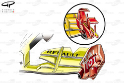 Renault R30 front wing (cascadeless and large V groove cut in upper flap.  Horizontal canards removed from endplate and no slot in footplate (highlighted in yellow)