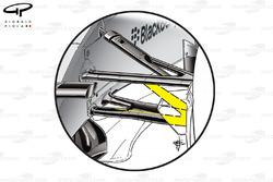 Mercedes F1 W05 front suspension wishbone (normal wishbone shape in yellow)