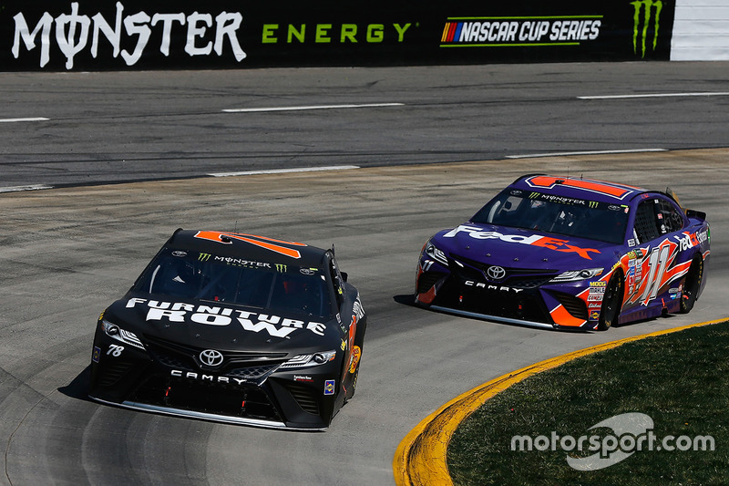 Martin Truex Jr., Furniture Row Racing Toyota, Denny Hamlin, Joe Gibbs  Racing