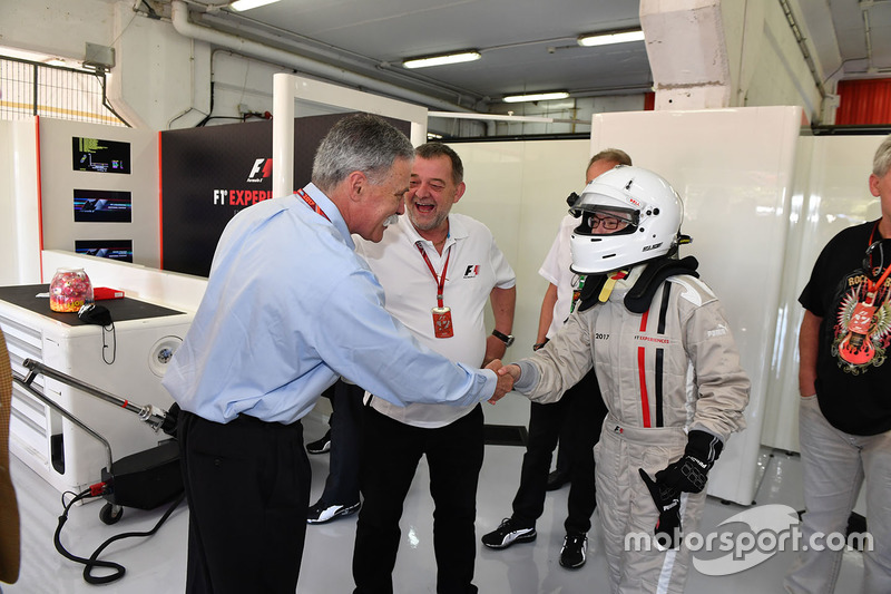 Chase Carey, Chief Executive Officer and Executive Chairman of the Formula One Group, Paul Stoddart, F1 Experiences 2-Seater passenger