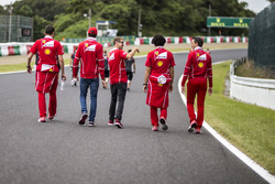 Sebastian Vettel, Ferrari and Antonio Giovinazzi, Ferrari walk the track