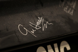 Car detail of Kurt Busch, Stewart-Haas Racing Ford with the signature of Gene Haas, Team owner Stewart-Haas Racing