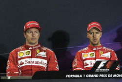 Kimi Raikkonen, Ferrari and race winner Sebastian Vettel, Ferrari in the Press Conference