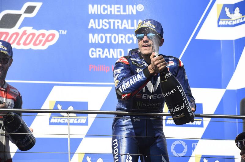 Podio: il vincitore della gara Maverick Viñales, Yamaha Factory Racing