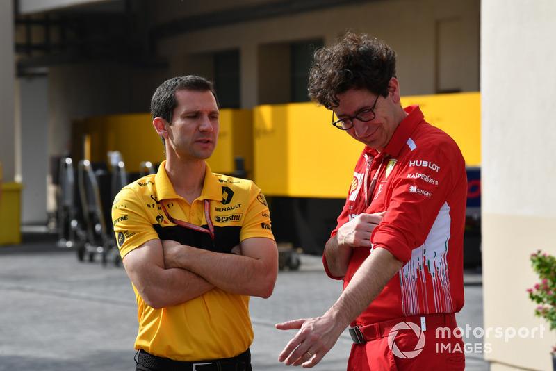 Remi Taffin, Capo delle operazioni in pista Renault Sport F1 e Mattia Binotto, Chief Technical Officer, Ferrari