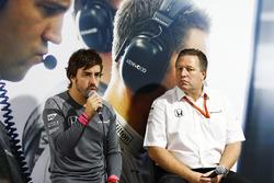 Fernando Alonso, McLaren, Zak Brown, Executive Director, McLaren Technology Group, host a press conference