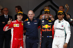 Race winner Daniel Ricciardo, Red Bull Racing, Adrian Newey, Chief Technical Officer, Red Bull Racing, second place Sebastian Vettel, Ferrari, third place Lewis Hamilton, Mercedes AMG F1, on the podium