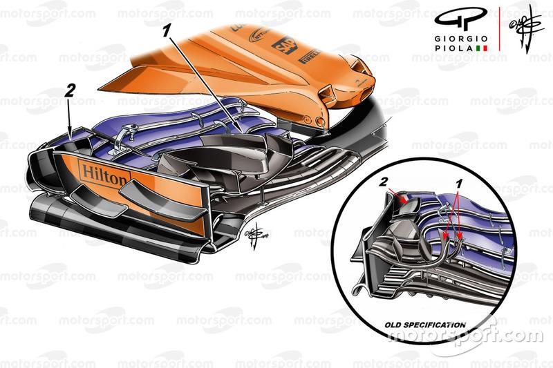 Ala delantera del McLaren MCL33 en Mónaco