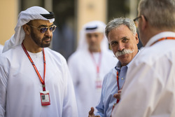 HH General Sheikh Mohammed bin Zayed bin Sultan Al Nahyan, Crown Prince of Abu Dhabi and Chase Carey, Chief Executive Officer and Executive Chairman of the Formula One Group and Ross Brawn, Formula One Managing Director of Motorsports