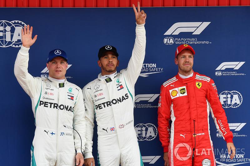 Tiga besar kualifikasi: 1. Lewis Hamilton, Mercedes AMG F1, 2. Valtteri Bottas, Mercedes AMG F1, 3. Sebastian Vettel, Ferrari