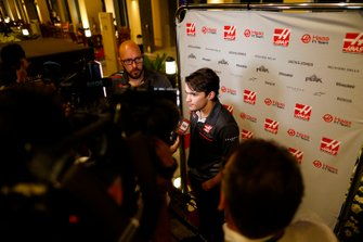 Pietro Fittipaldi, Haas development driver, talks to the media