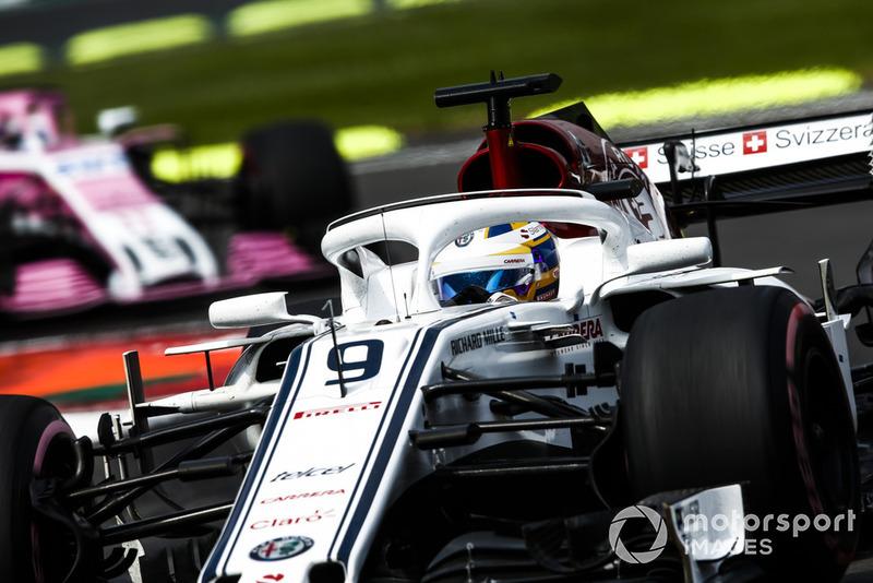 Marcus Ericsson, Sauber C37, leads Sergio Perez, Racing Point Force India VJM11