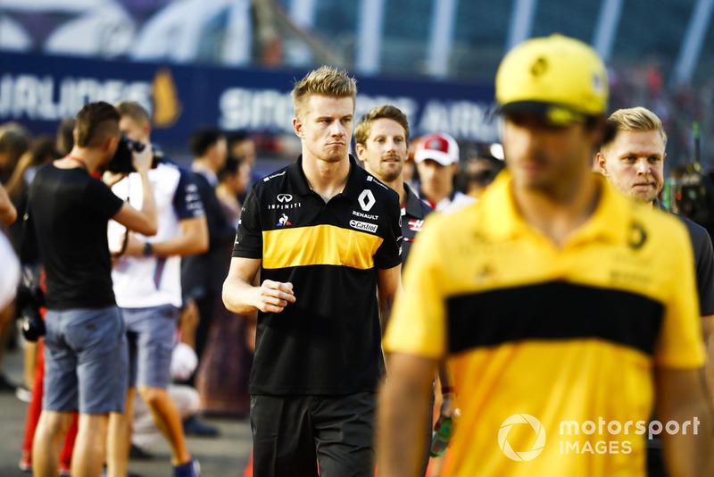 Nico Hulkenberg, Renault Sport F1 Team, Carlos Sainz Jr., Renault Sport F1 Team, Romain Grosjean, Haas F1 Team, y Kevin Magnussen, Haas F1 Team