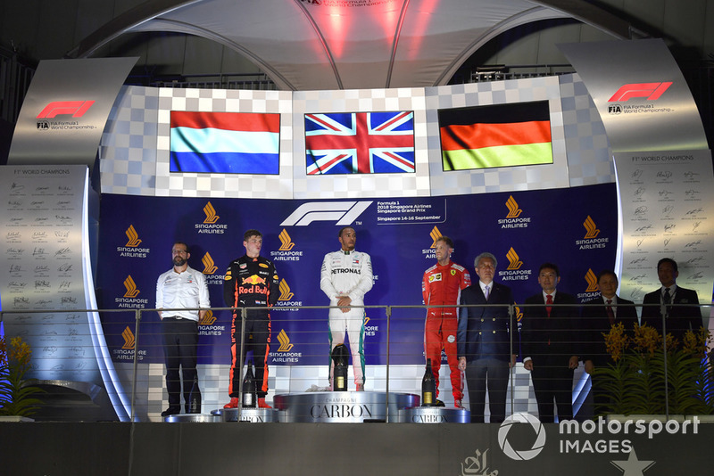 Max Verstappen, Red Bull Racing, Lewis Hamilton, Mercedes AMG F1 and Sebastian Vettel, Ferrari on the podium
