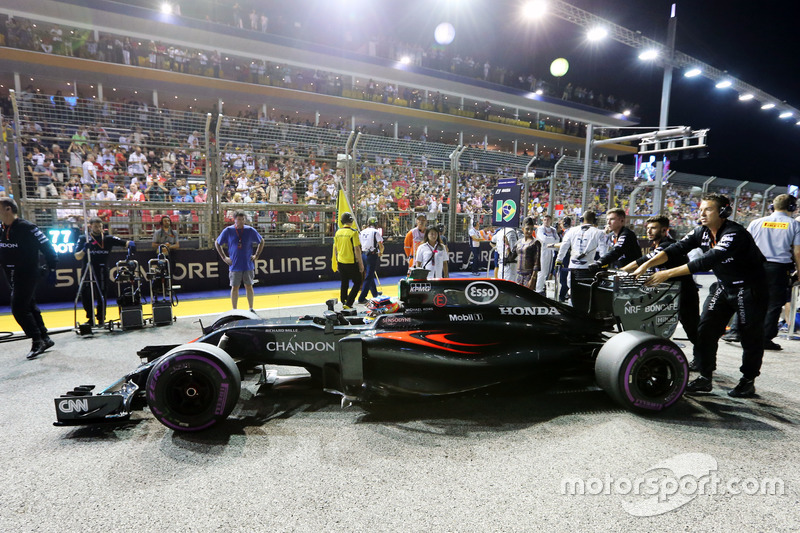 Fernando Alonso, McLaren MP4-31 en la parrilla