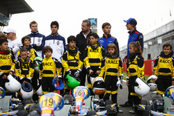 Young karters backed by the RACC, Spain's largest auto club, pose with Valtteri Bottas, Mercedes AMG F1, Sergey Sirotkin, Williams Racing, Lance Stroll, Williams Racing, Pierre Gasly, Toro Rosso, and Brendon Hartley, Toro Rosso