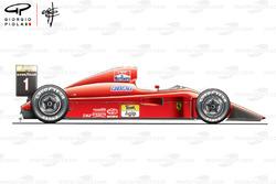 Ferrari F1-90 (641) vista lateral