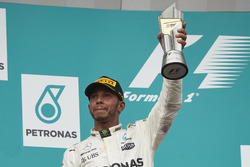 second place Lewis Hamilton, Mercedes AMG F1 on the podium