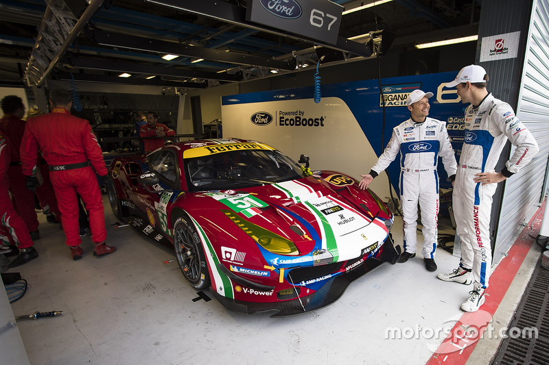 Andy Priaulx, Harry Tincknell, Ford Chip Ganassi Racing, looking at the car #51 AF Corse Ferrari 488