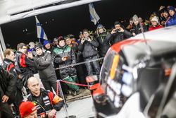 Car of Jari-Matti Latvala, Miikka Anttila, Toyota Yaris WRC, Toyota Racing in the team area
