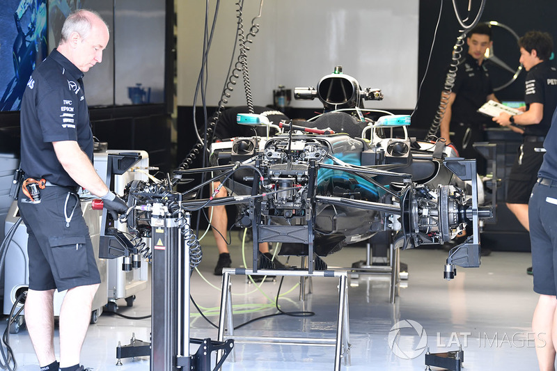 Mercedes-Benz F1 W08 Hybrid in the garage