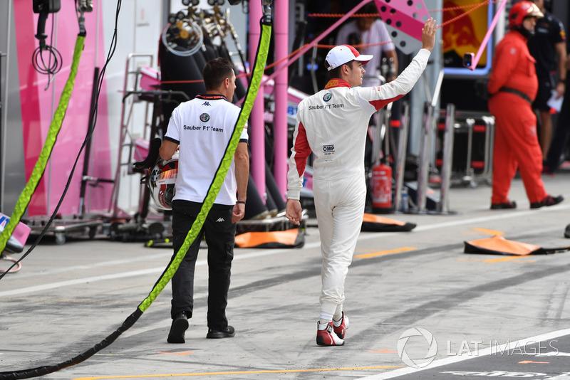 Charles Leclerc, Sauber tras quedar eliminado en Q1