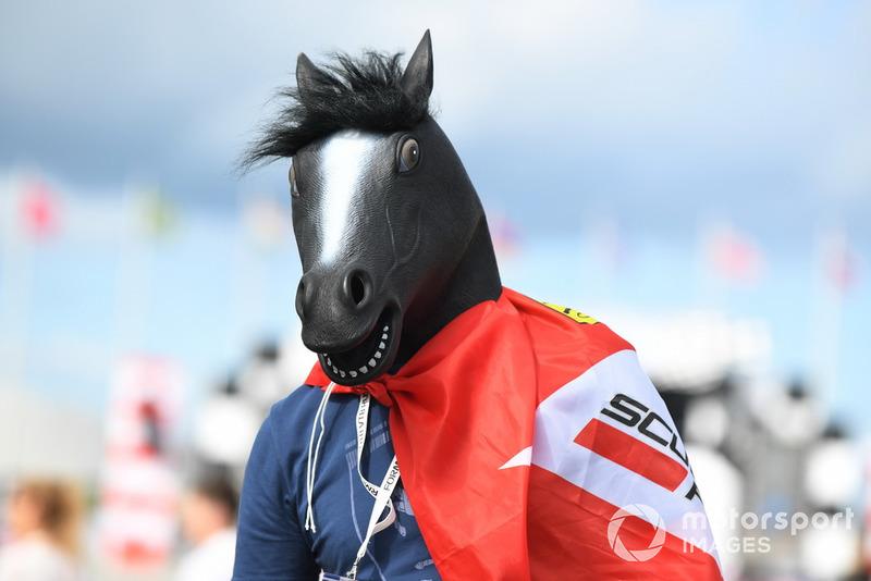 Un fan de Ferrari avec une tête de cheval