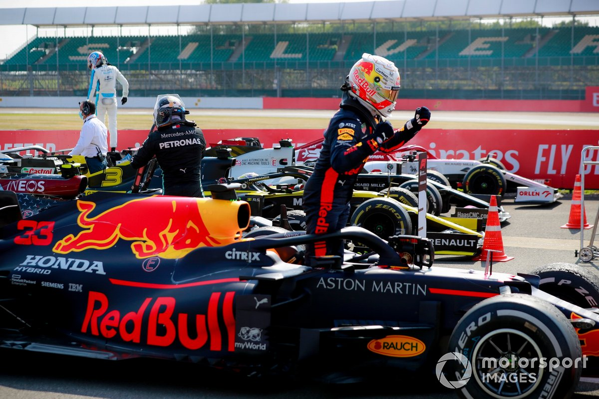 Race winner Max Verstappen, Red Bull Racing RB16, celebrates on arrival in Parc Ferme
