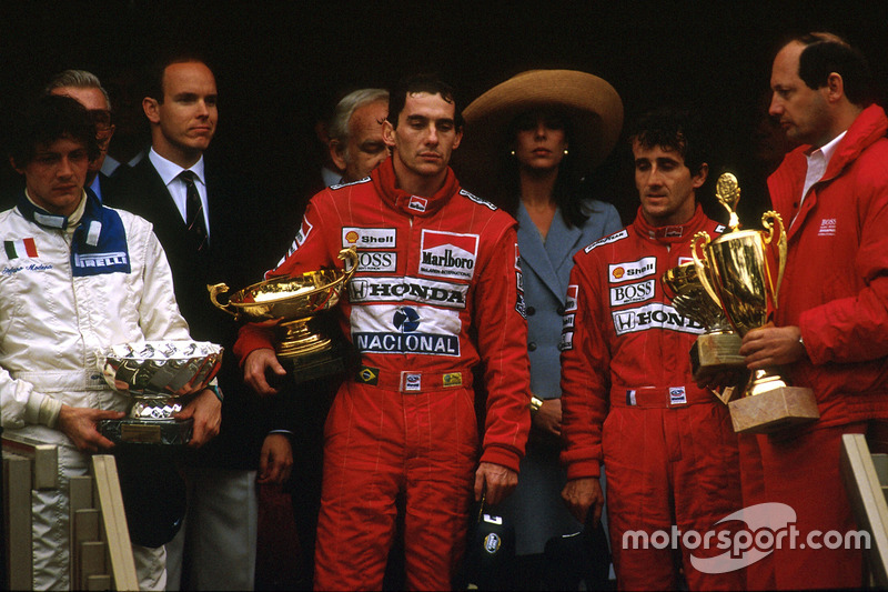 Ayrton Senna, Alain Prost, and Stefano Modena on the podium