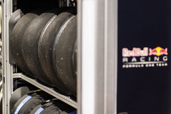 Pirelli tyres at the Red Bull Racing garage