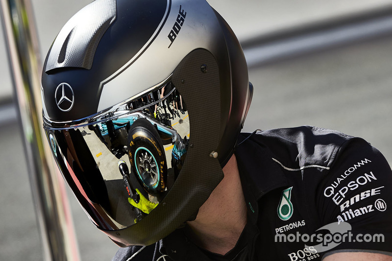 Mercedes AMG F1 mechanic at work