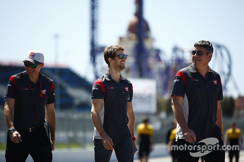 Romain Grosjean, Haas F1 Team, conducts a track walk